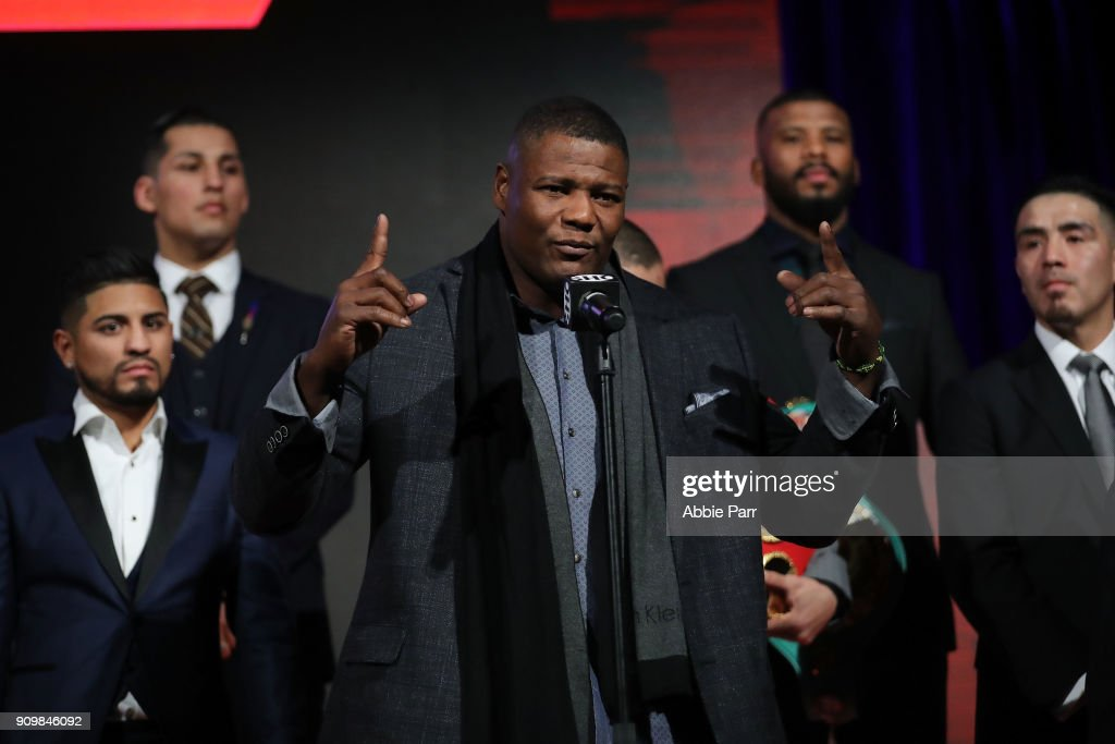 Luis Ortiz addresses the media during the 2018 Showtime Championship Boxing Event at Cipriani 42nd Street on January 24, 2018 in New York City.