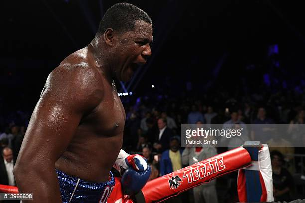 Luis Ortiz celebrates after defeating Tony Thompson in their main event heavyweight match at the DC Armory on March 5 2016 in Washington DC