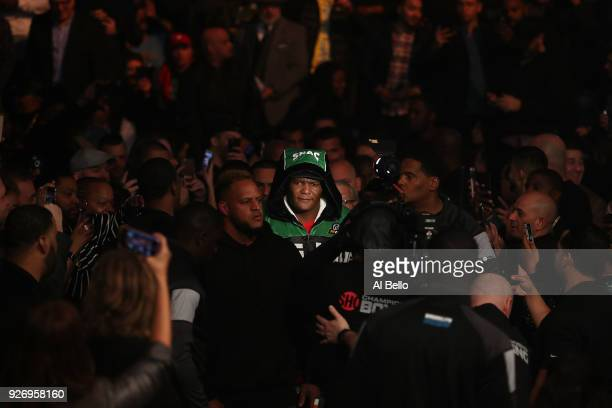 Luis Ortiz enters the ring against Deontay Wilder during their WBC Heavyweight Championship fight at Barclays Center on March 3 2018 in the Brooklyn...