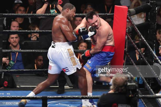 Luis Ortiz lands a left hand against Christian Hammer at Barclays Center on March 2 2019 in New York City Ortiz would win by unanimous decision