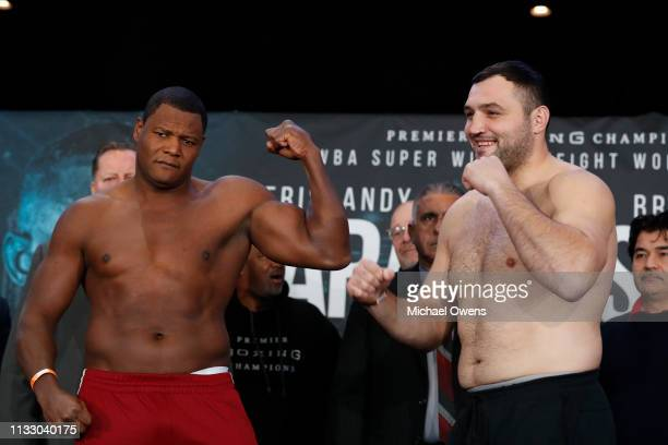 Luis Ortiz left and Christian Hammer pose for the media after their weighins at Barclays Center on March 01 2019 in the Brooklyn borough of New York...