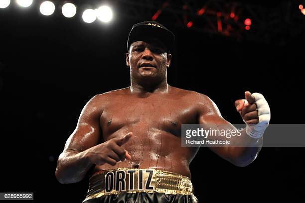 Luis Ortiz of Cuba celebrates victory against David Allen during a Heavyweight contest at Manchester Arena on December 10 2016 in Manchester England