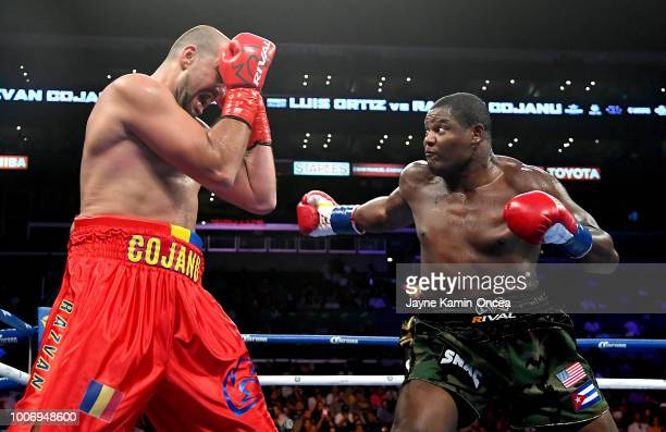 Luis Ortiz of Cuba during his Heavyweight fight against Razvan Cojanu of Romania at Staples Center on July 28 2018 in Los Angeles California Ortiz...