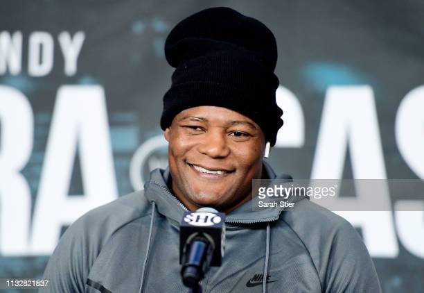 Luis Ortiz of Cuba speaks to the media during the press conference prior to his heavyweights fight against Christian Hammer at Barclays Center on...