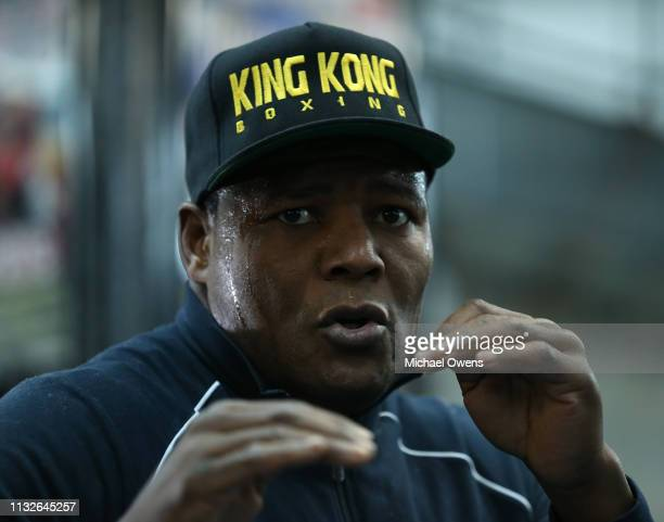 Luis Ortiz practices during the media workout at Gleason's Gym on February 27 2019 in the Brooklyn borough of New York City