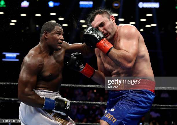 Luis Ortiz punches Christian Hammer during their heavyweight fightat Barclays Center on March 02 2019 in New York City