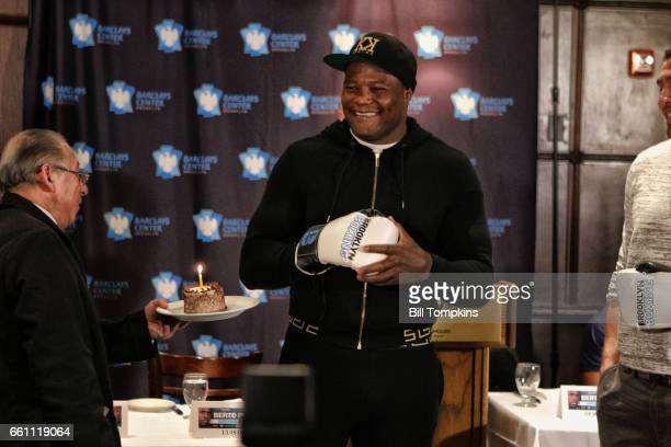 Luis Ortiz receives a 'Happy Birthday' cupcake during his press conference promoting upcoming heavyweight fight against Derrick Rossy March 30...