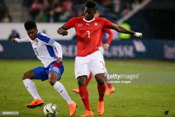 Luis Ovalle of Panama Breel Embolo of Switzerland during the International Friendly match between Switzerland v Panama at the Luzern Arena on March...