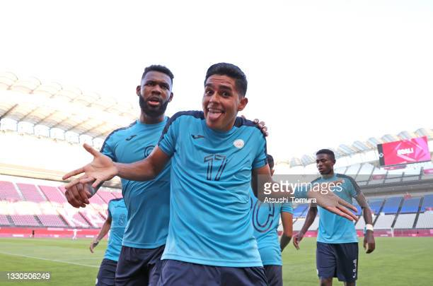 Luis Palma of Team Honduras celebrates after scoring their side's first goal during the Men's First Round Group B match between New Zealand and...