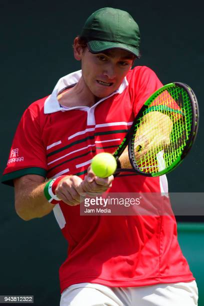 Luis Patino of Mexico returns a shot during day two of the Davis Cup second round series between Mexico and Peru as part of the Group II of the...