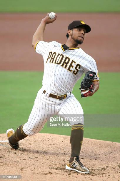 Luis Patino of the San Diego Padres pitches during the first inning of a game against the Seattle Mariners at PETCO Park on September 19 2020 in San...