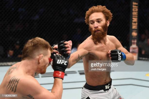 Luis Pena of Italy punches Matt Frevola in their lightweight bout during the UFC Fight Night event at Amalie Arena on October 12, 2019 in Tampa,...