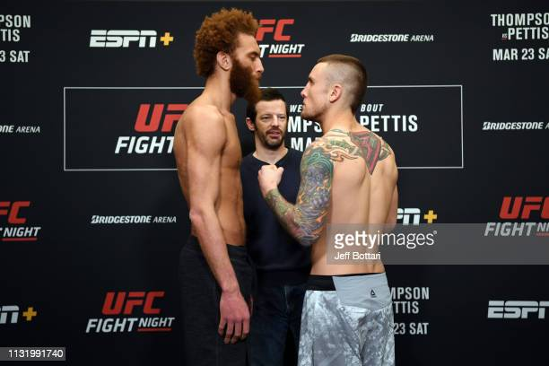 Luis Pena poses on the scale during the UFC Fight Night weighin at Hilton Franklin Cool Springs on March 22 2019 in Franklin Tennessee