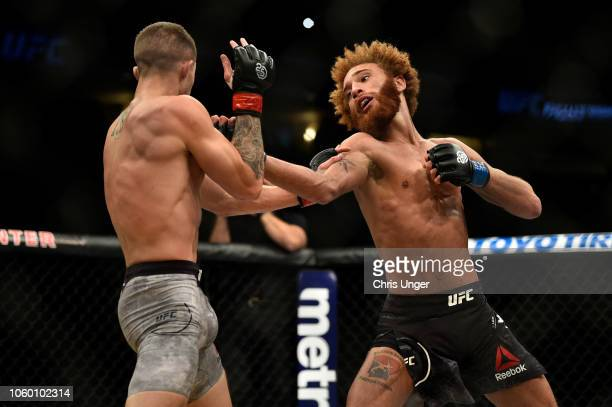 Luis Pena punches Michael Trizano in their lightweight bout during the UFC Fight Night event inside Pepsi Center on November 10 2018 in Denver...
