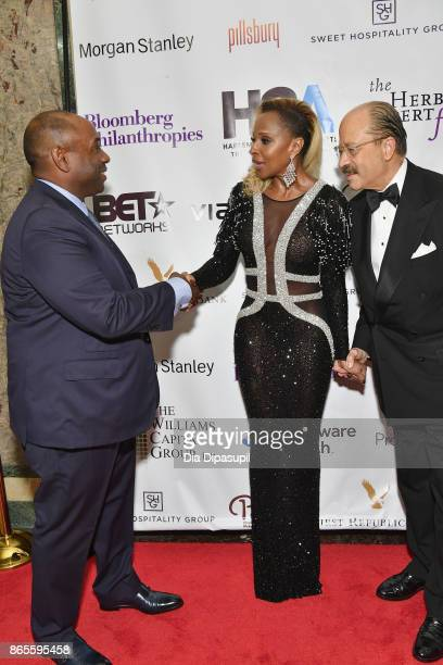 Luis Penalver singer Mary J Blige and Chair of the Board of Directors of HSA Charles Hamilton Jr attend HSA Masquerade Ball on October 23 2017 at The...