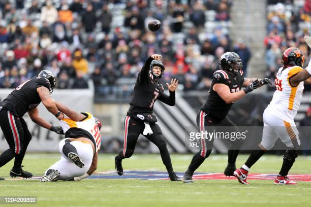 Luis Perez of the New York Guardians passes the ball during the XFL game against the LA Wildcats at MetLife Stadium on February 29, 2020 in East...