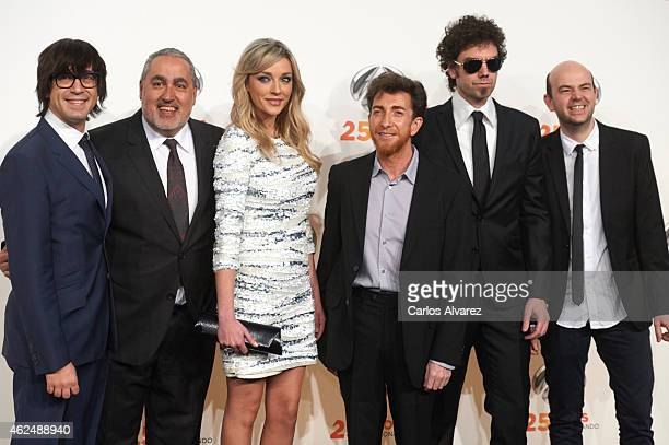 "Luis Piedrahita, Jorge Salvador, Anna Simon, Pablo Motos, Pablo Ibanez and Alejandro Lopez ""Jandro"" attend Antena 3 TV Channel 25th anniversary party..."