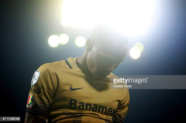 Luis Quin–ones of Pumas reacts during the group 7 match between Pumas UNAM and Emelec as part of Copa Libertadores 2016 at Olimpico Universitario...