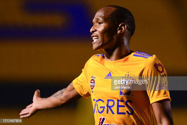 Luis Quinones of Tigres reacts during the 10th round match between Tigres UANL and FC Juarez as part of the Torneo Clausura 2020 Liga MX at...