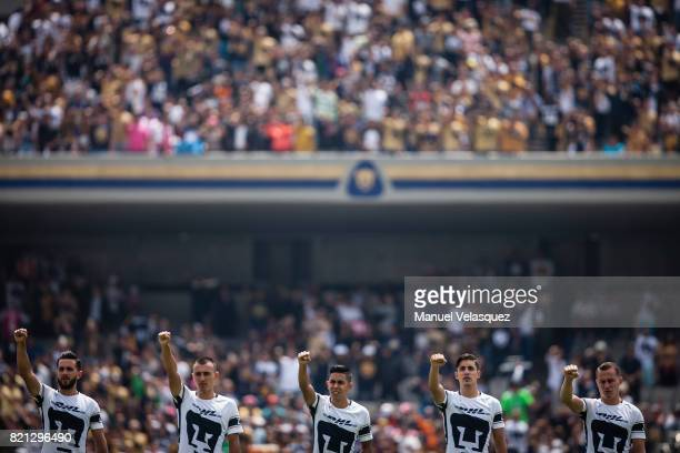 Luis Quintana Brian Figueroa Nestor Calderon Jose Carlos Van Rankin Abraham Gonzalez of Pumas wave at the fans prior the 1st round match between...