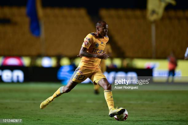 Luis Quiñones of Tigres drives the ball during the 10th round match between Tigres UANL and FC Juarez as part of the Torneo Clausura 2020 Liga MX at...