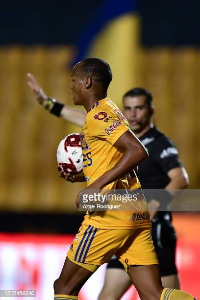 Luis Quiñones of Tigres reacts after scoring his team's first goal during the 10th round match between Tigres UANL and FC Juarez as part of the...
