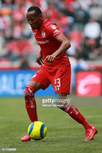 Luis Quiñones of Toluca drives the ball during the 6th round match between Toluca and Monterrey as part of the Torneo Clausura 2018 Liga MX at...