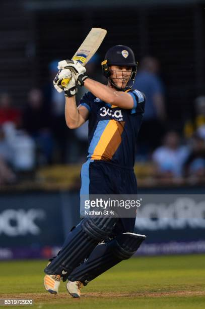 Luis Reece of Derbyshire Falcons batting during the NatWest T20 Blast match between Derbyshire Falcons and Durham Jets at The 3aaa County Ground on...