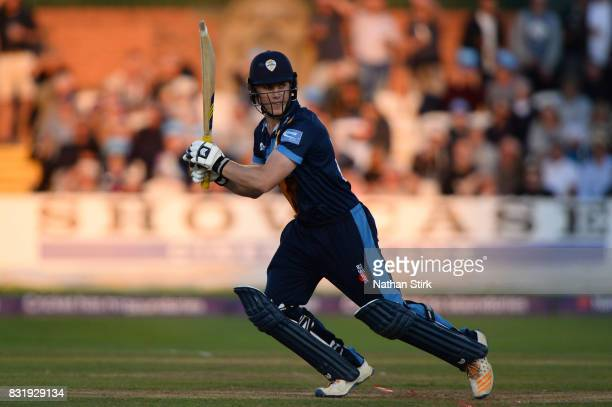 Luis Reece of Derbyshire Falcons in batting during the NatWest T20 Blast match between Derbyshire Falcons and Durham Jets at The 3aaa County Ground...
