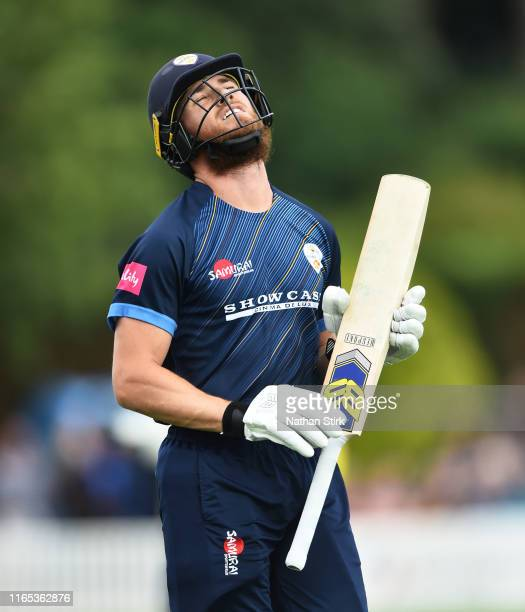 Luis Reece of Derbyshire reacts as he gets out by Pat Brown of Worcestershire during the Vitality Blast match between Worcestershire Rapids and...