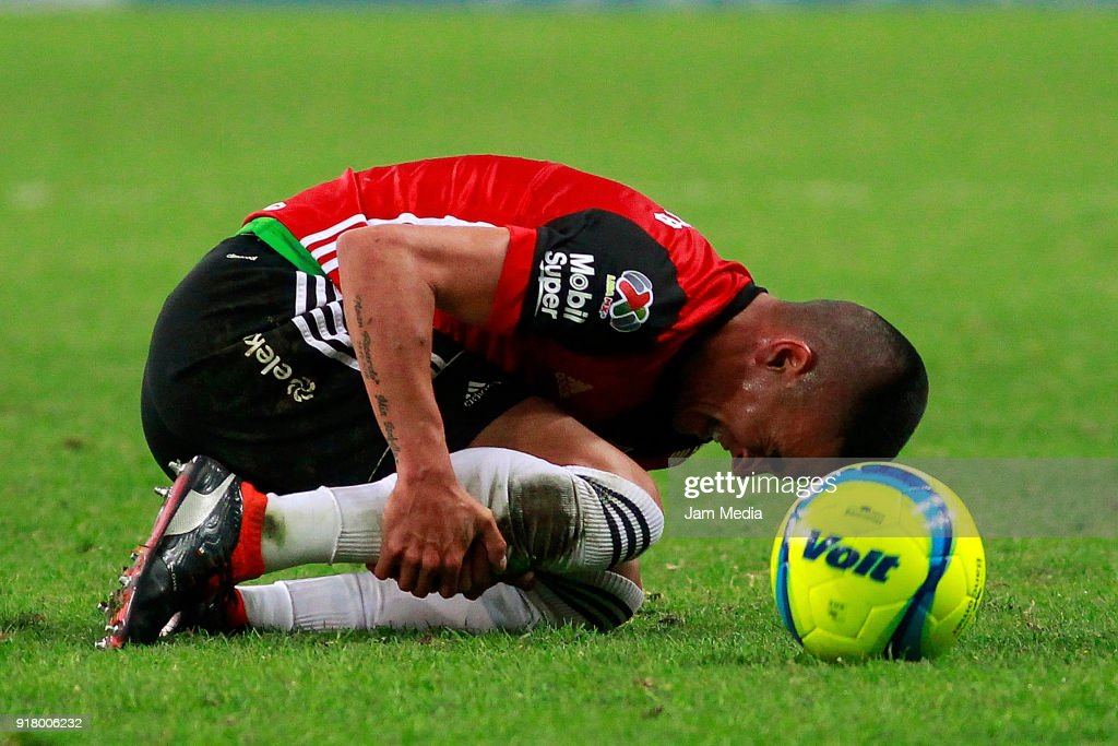 Luis Reyes of Atlas reacts during the 7th round match between Atlas and Necaxa as part of the Torneo Clausura 2018 Liga MX at Jalisco Stadium on February 13, 2018 in Guadalajara, Mexico.