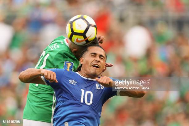 Luis Reyes of Mexico and Gerson Mayen of El Salvador during the 2017 CONCACAF Gold Cup Group C match between Mexico and El Salvador at Qualcomm...