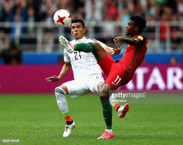 Luis Reyes of Mexico and Nelson Semedo of Portugal battle for possession during the FIFA Confederations Cup Russia 2017 PlayOff for Third Place...