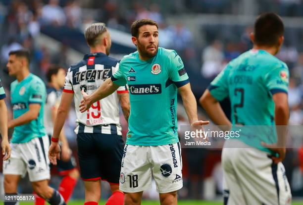 Luis Reyes of San Luis appeals during the 9th round match between Monterrey and Atletico San Luis as part of the Torneo Clausura 2020 Liga MX at BBVA...