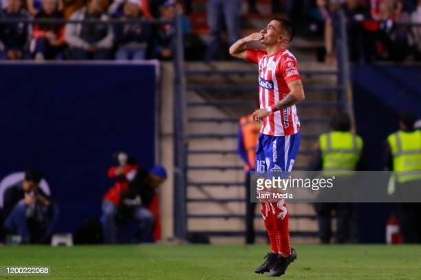 Luis Reyes of San Luis celebrates after scoring the first goal of his team during the 2nd round match between Atletico San Luis and Cruz Azul as part...