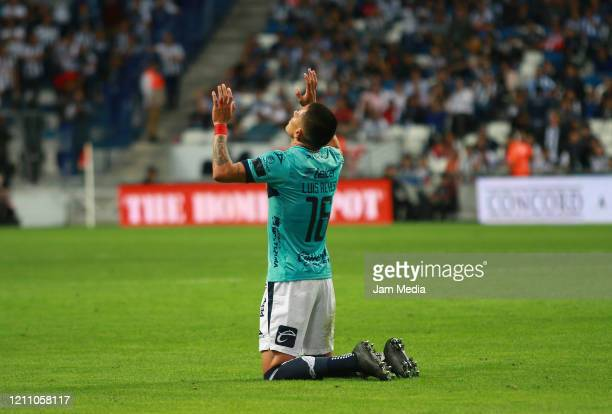 Luis Reyes of San Luis celebrates after the first goal of his team during the 9th round match between Monterrey and Atletico San Luis as part of the...