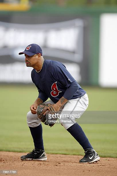 Luis Rivas of the Cleveland Indians gets ready to field against the Philadelphia Phillies during a Spring Training game at Bright House Networks...