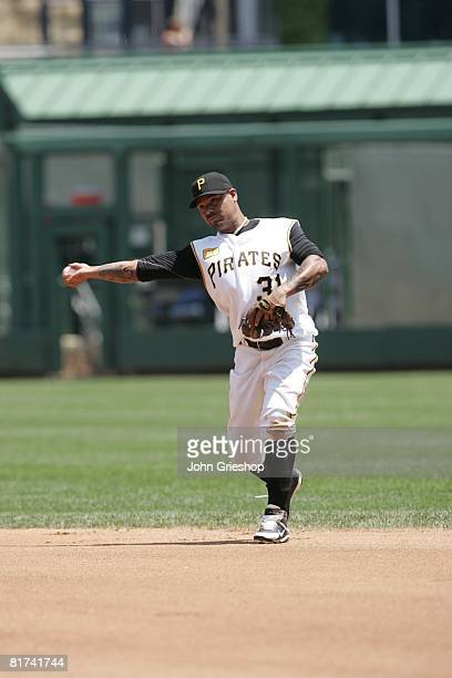 Luis Rivas of the Pittsburgh Pirates throws to first base during the game against the Arizona Diamondbacks at PNC Park in Pittsburgh, Pennsylvania on...