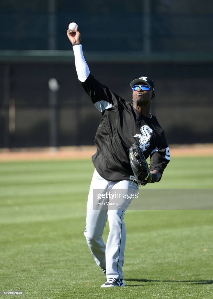 Luis Robert #92 of the Chicago White Sox throws the baseball during a during spring training workout February 22, 2018 at Camelback Ranch in Glendale Arizona.