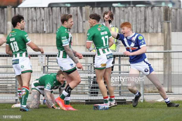 Luis Roberts of Swinton Lions celebrates after scoring their side's first try during the Betfred Challenge Cup match between Swinton Lions and...