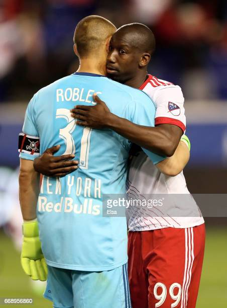 Luis Robles and Bradley WrightPhillips of New York Red Bulls celebrate the 20 win over the DC United at Red Bull Arena on April 15 2017 in Harrison...