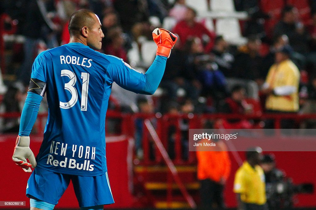 Luis Robles goalkeeper of New York Red Bulls celebrates the first goal of his team scored by Bradley Wright-Phillips (not in frame) during the quarter finals first leg match between Tijuana and New York RB at Caliente Stadium on March 06, 2018 in Tijuana, Mexico.