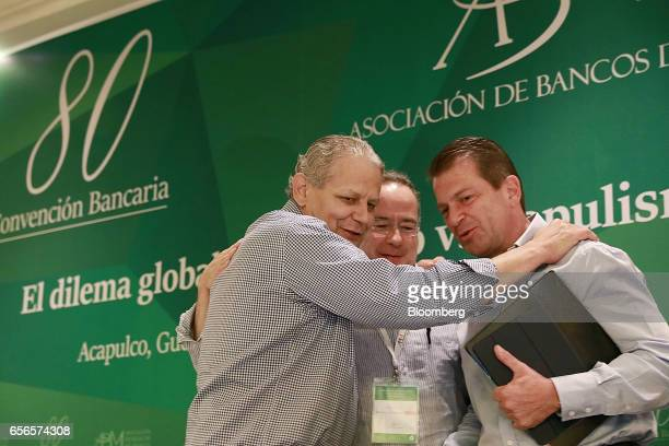Luis Robles Miaja chairman of BBVA Bancomer SA and president of the Mexican Banking Association from left Alberto Gomez Alcala executive director of...