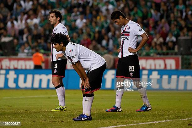 Luis Robles of Atlas reacts during a match against Leon as part of the Apertura 2012 Liga MX at Camp Nou Stadium on november 09 2012 in Leon Mexico
