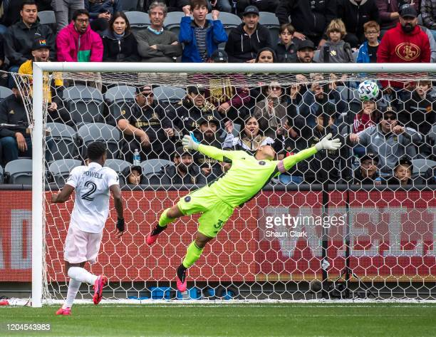 Luis Robles of Inter Miami makes a save during the MLS match against Los Angeles FC at the Banc of California Stadium on March 1 2020 in Los Angeles...