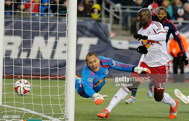 Luis Robles of New York Red Bulls allows a goal by Charlie Davies of the New England Revolution in the first half against New York Red Bulls during...