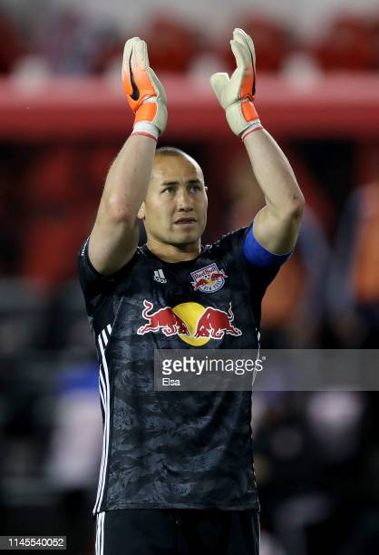 Luis Robles of New York Red Bulls celebrates the win over the FC Cincinnati at Red Bull Arena on April 27, 2019 in Harrison, New Jersey.The New York...