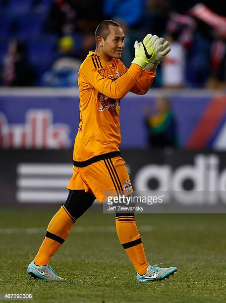 Luis Robles of New York Red Bulls cheers the crowd after a victory over DC United at Red Bull Arena on March 22 2015 in Harrison New Jersey