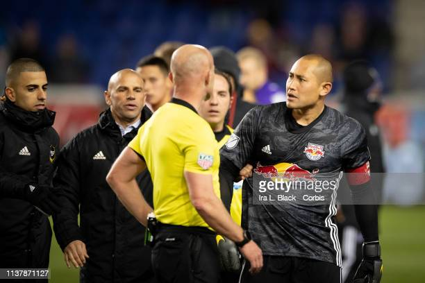 Luis Robles of New York Red Bulls has words with the referees after the MLS match between Orlando City SC and New York Red Bulls at Red Bull Arena on...