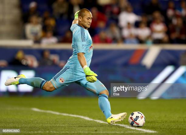 Luis Robles of New York Red Bulls kicks the ball in the second half against the DC United at Red Bull Arena on April 15 2017 in Harrison New Jersey